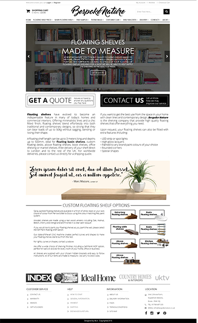bespoke nature homepage web design