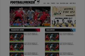 football frenzie homepage website design