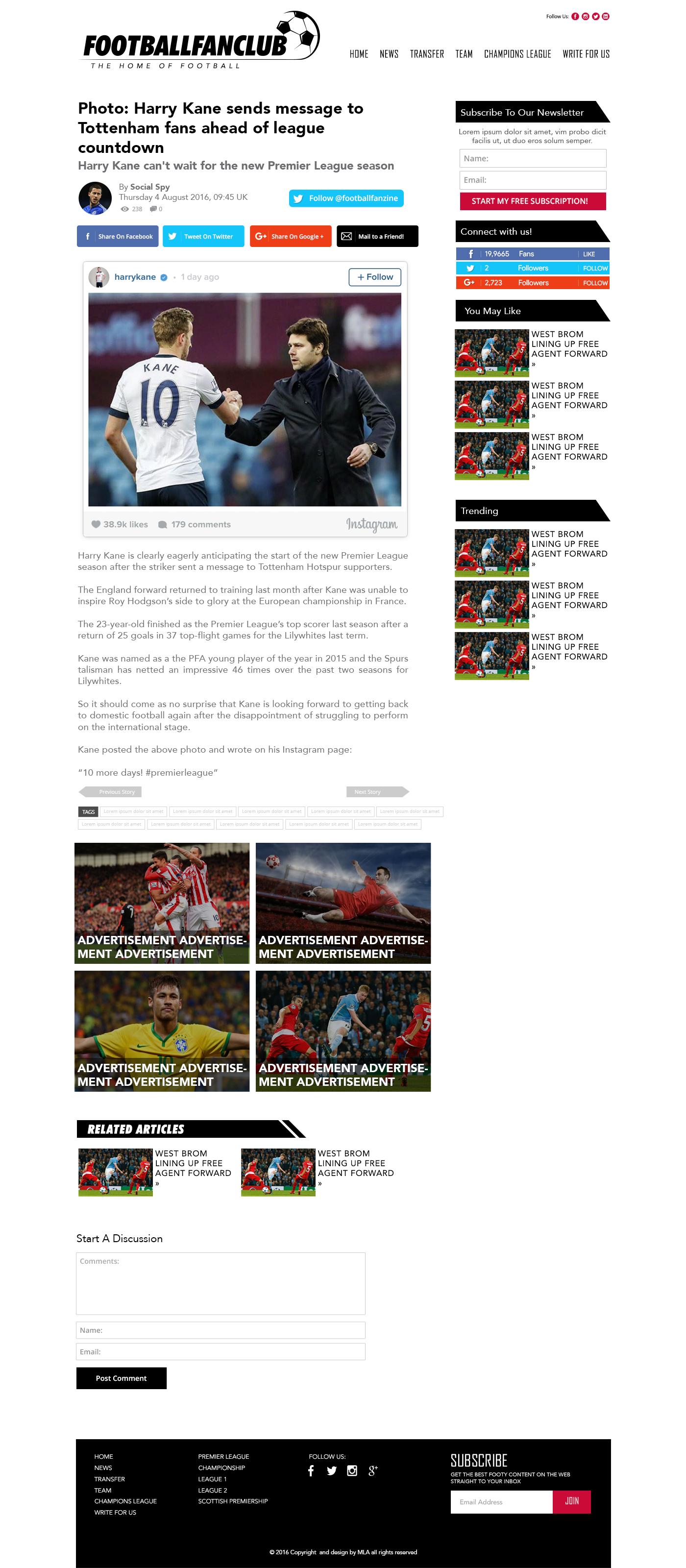 football fanzine article page design