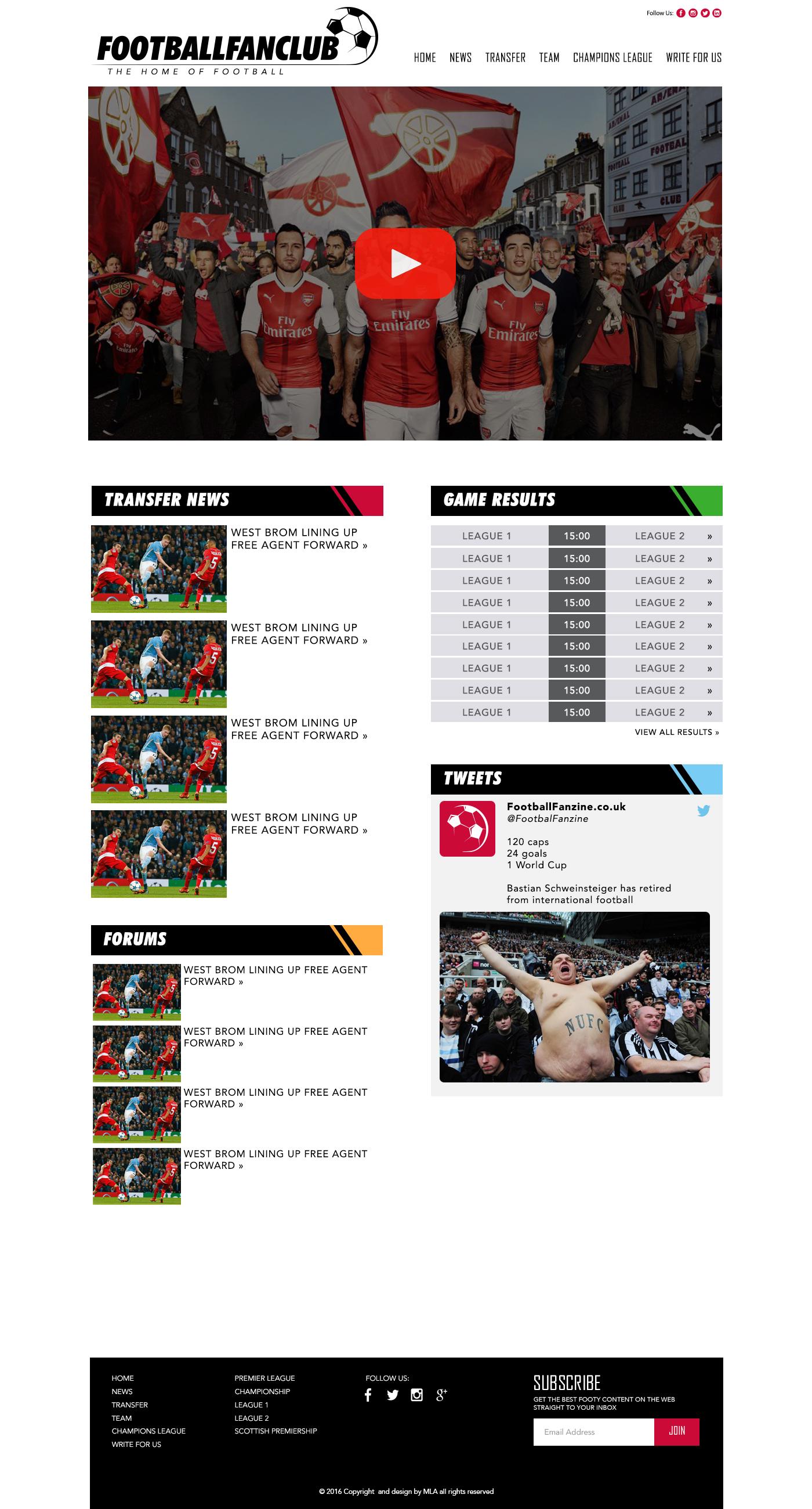 football fanzine league page design