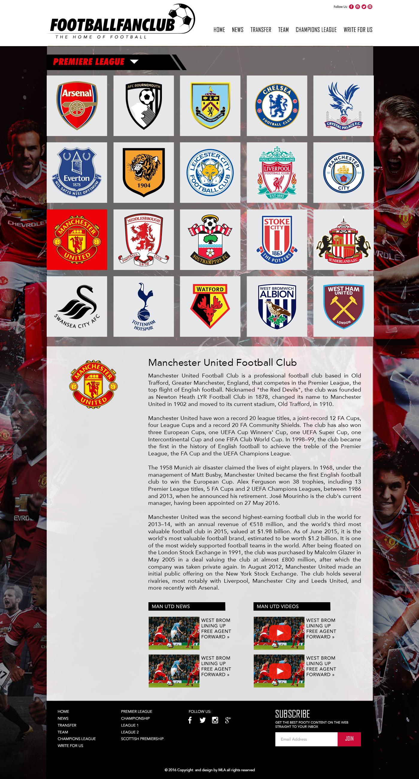 football fanzine team page design