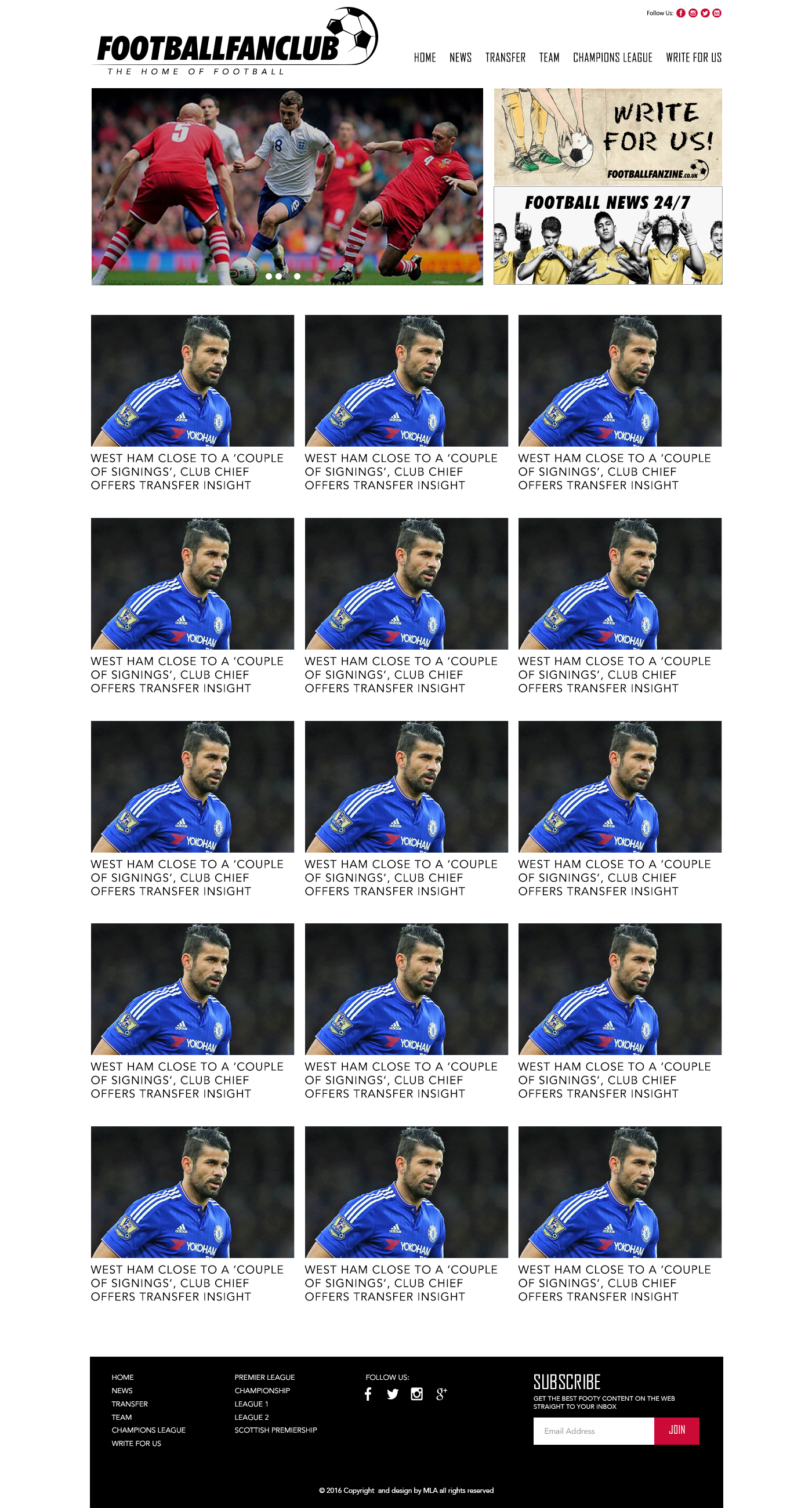 football fanzine transfer page design