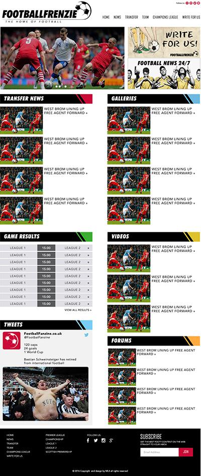 football fanzine homepage design