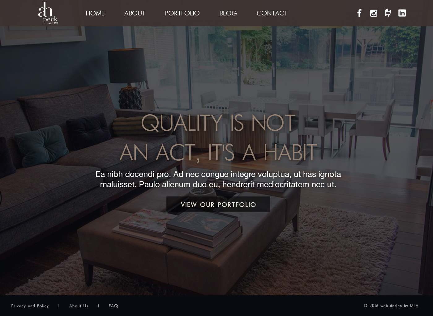 A.H Peck homepage design