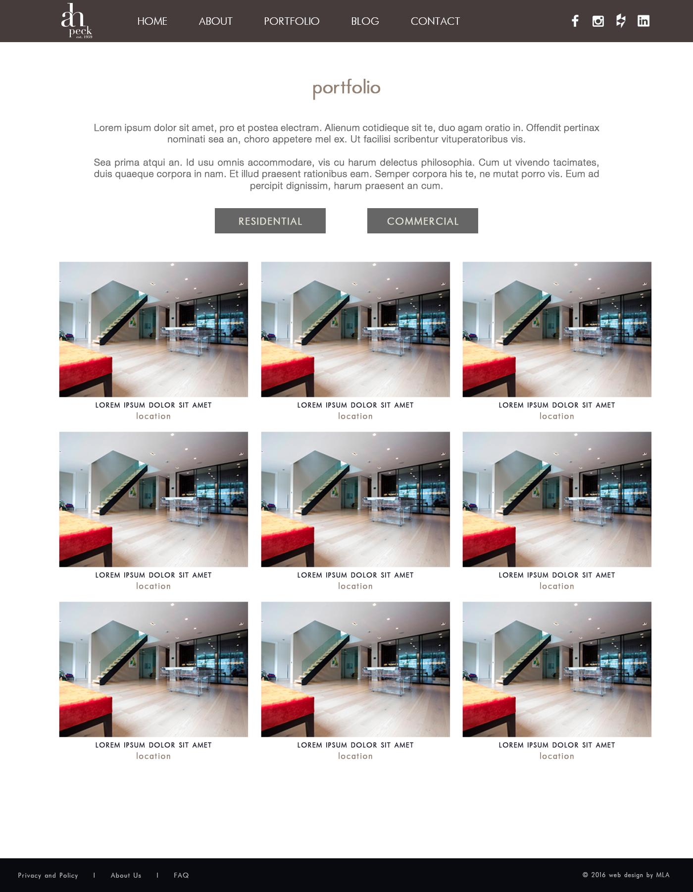 A.H Peck portfolio page design