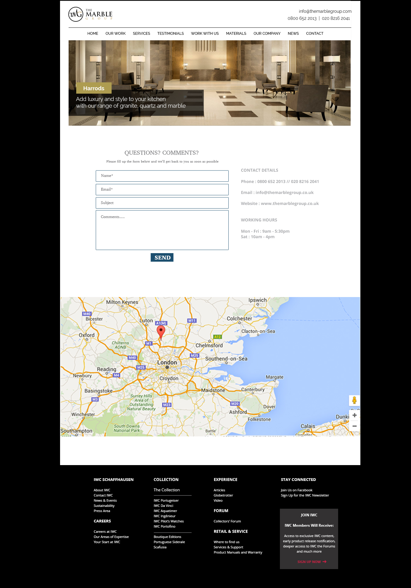 marble group contact page design