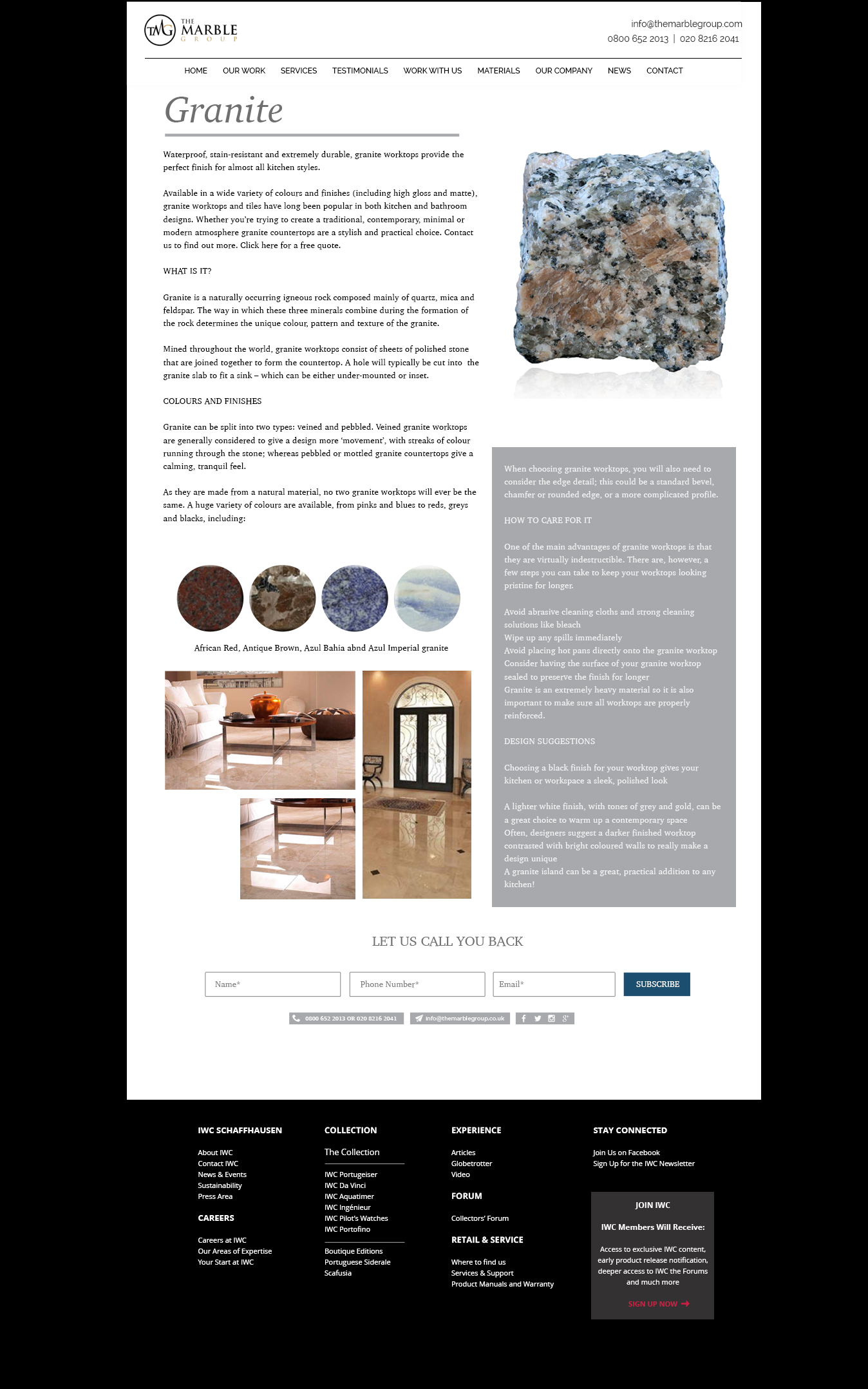 marble group materials page design