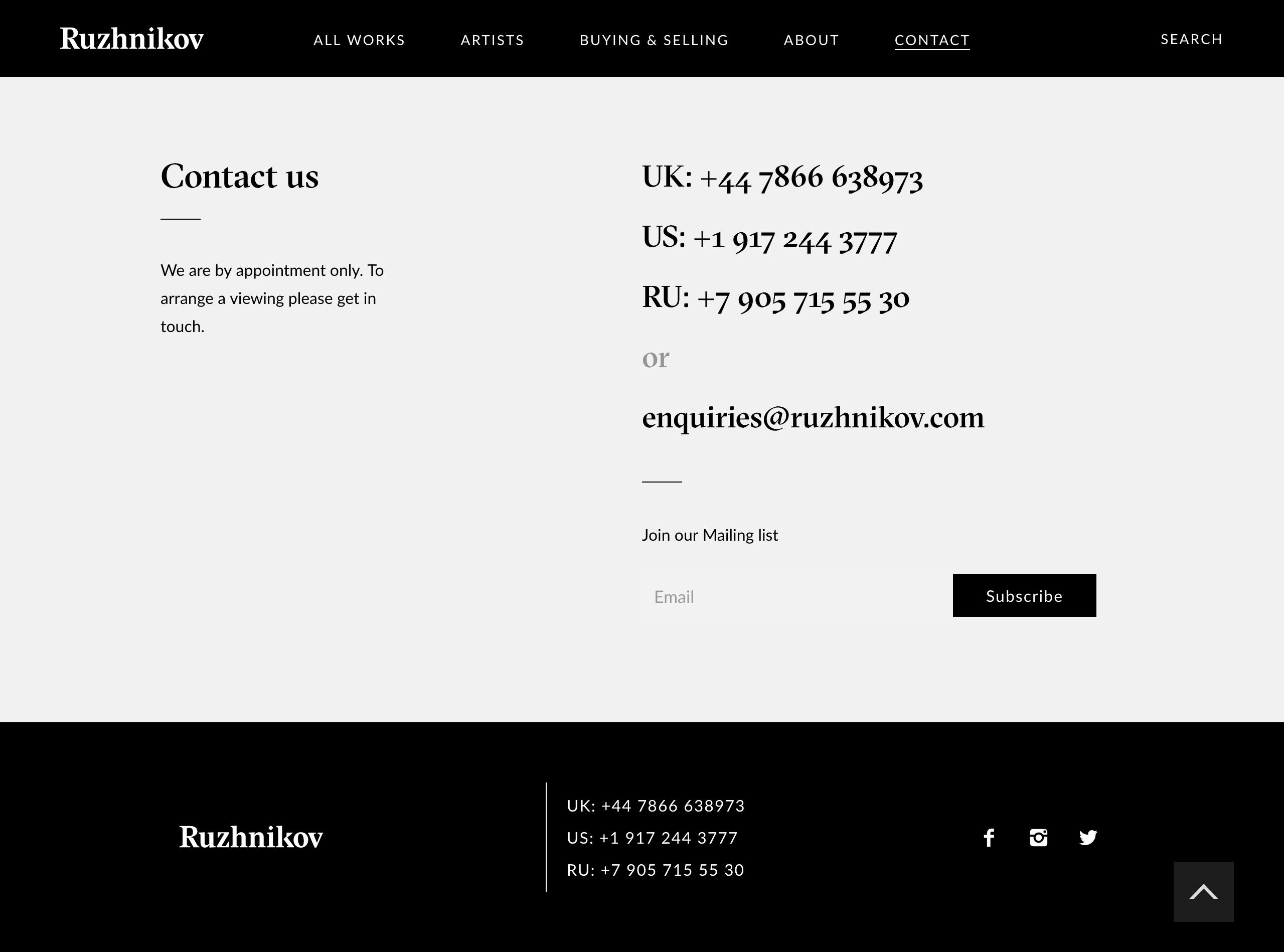 ruzhnikov contact page design
