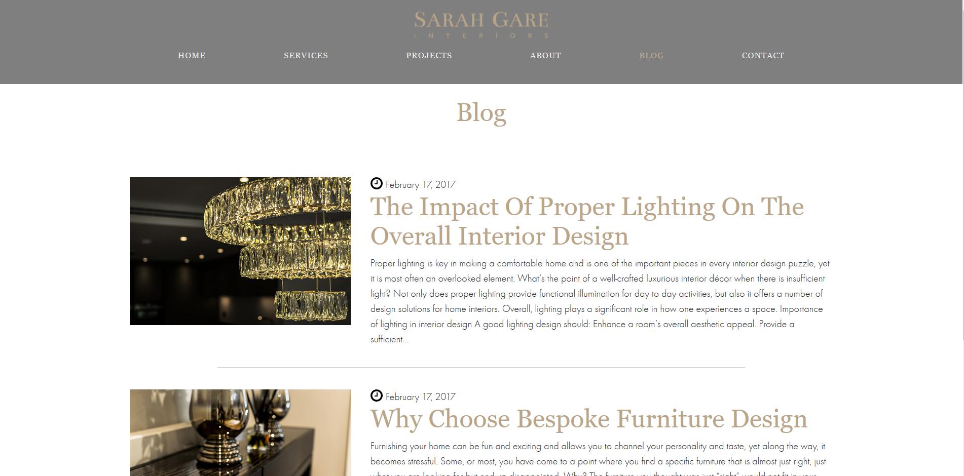 Sarah Gare interiors Blog Page
