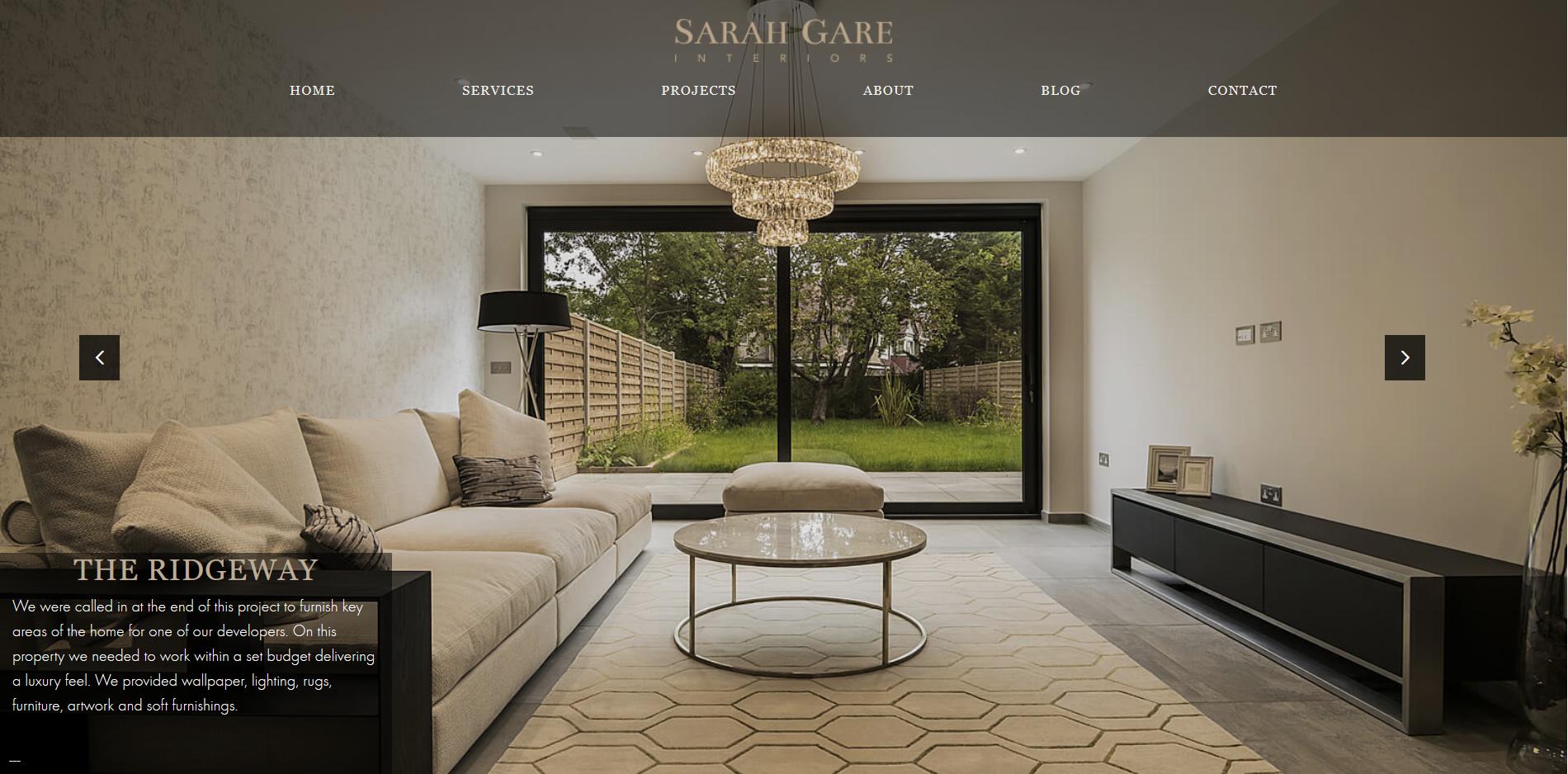 Sarah Gare interiors Portfolio Page