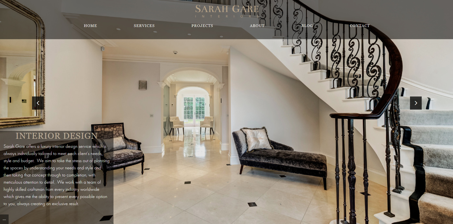 Sarah Gare interiors Services Page