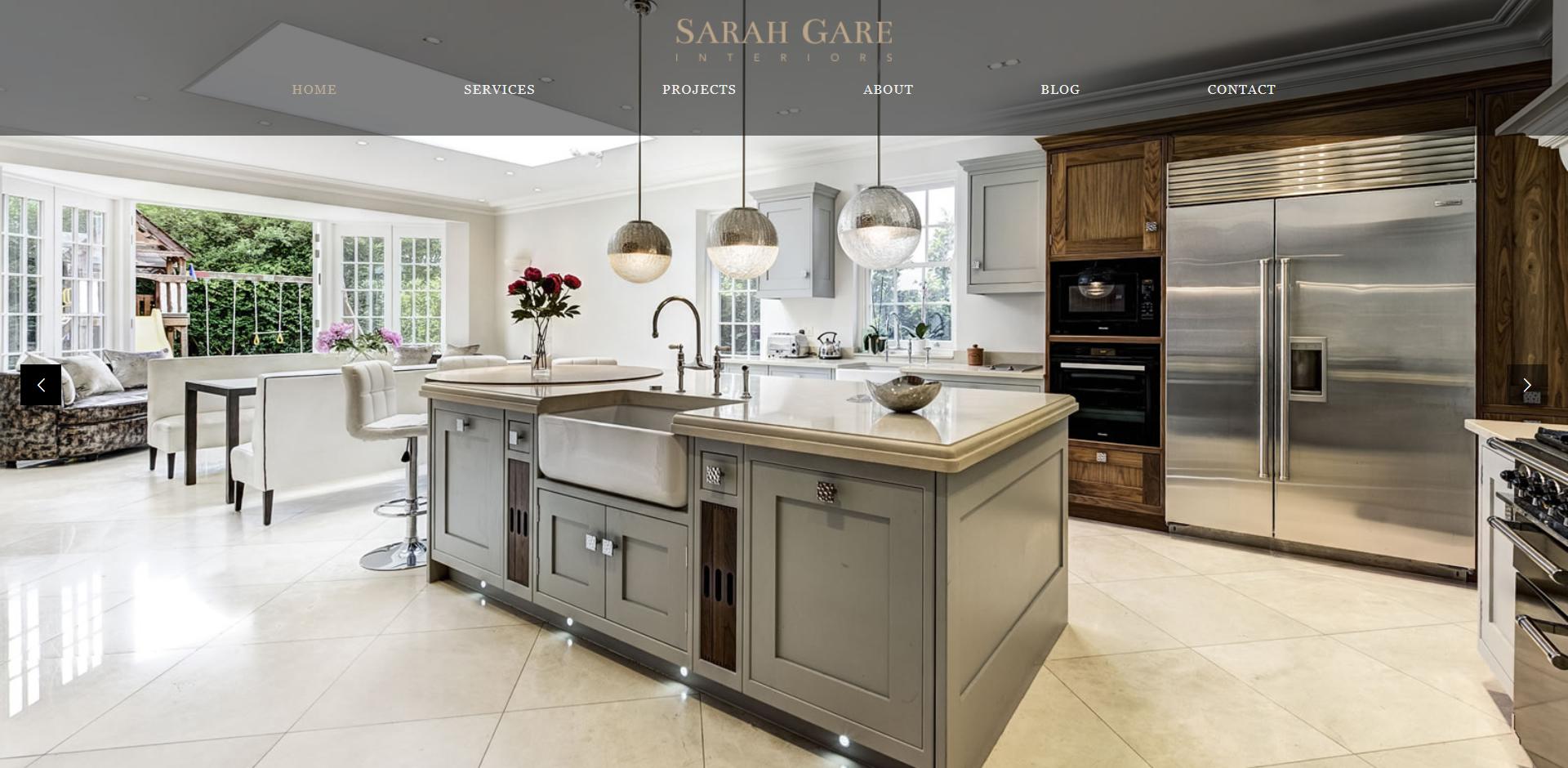 Sarah Gare interiors homepage
