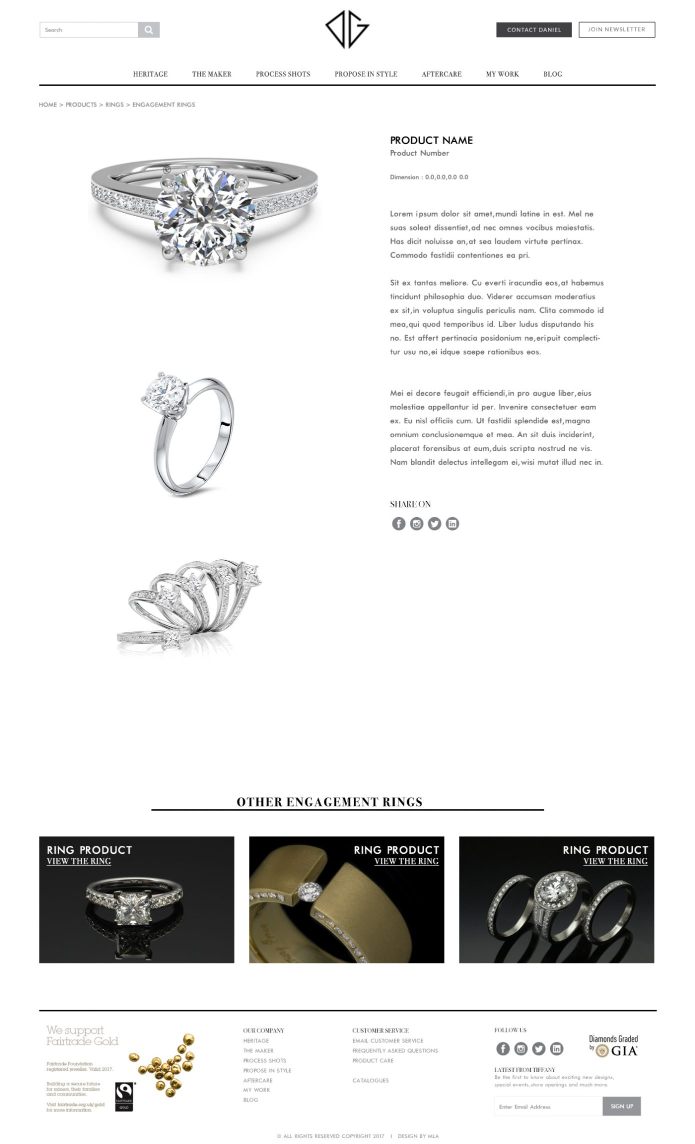 Dg bespoke jewellery product page design - Website design London - web design agency london