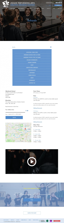 Jigsaw Arts schools page design - Web design London - web design agency london