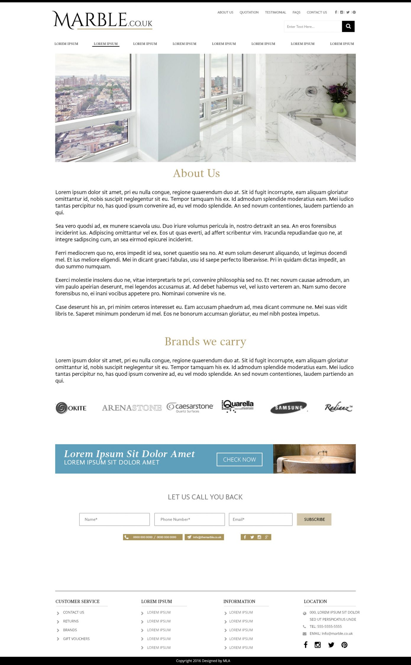 MarbleCoUk about page design - Website design London - web design agency london