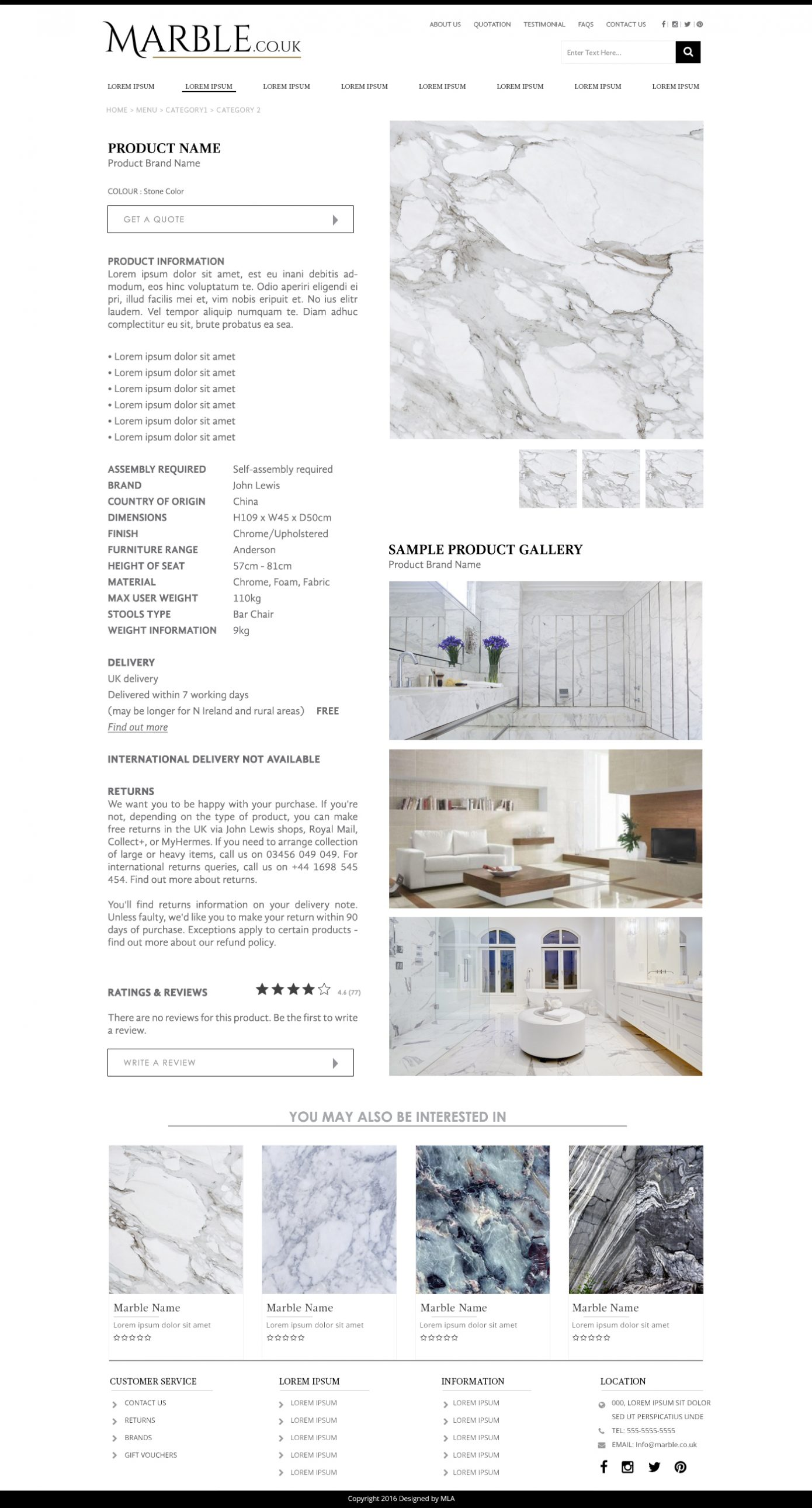 MarbleCoUk Product page design - Website design London - web design agency london