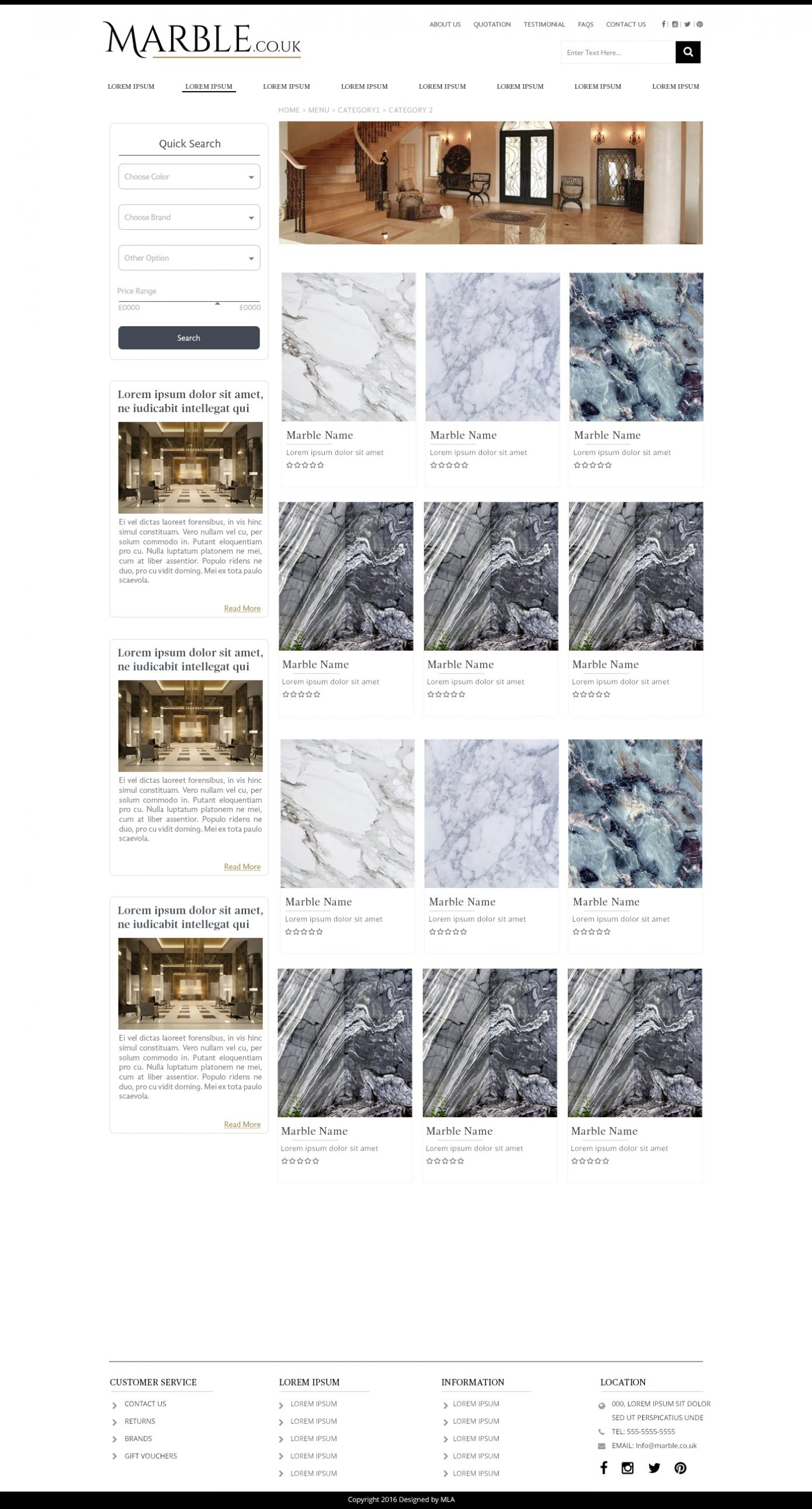 MarbleCoUk category page design - Website design London - web design agency london