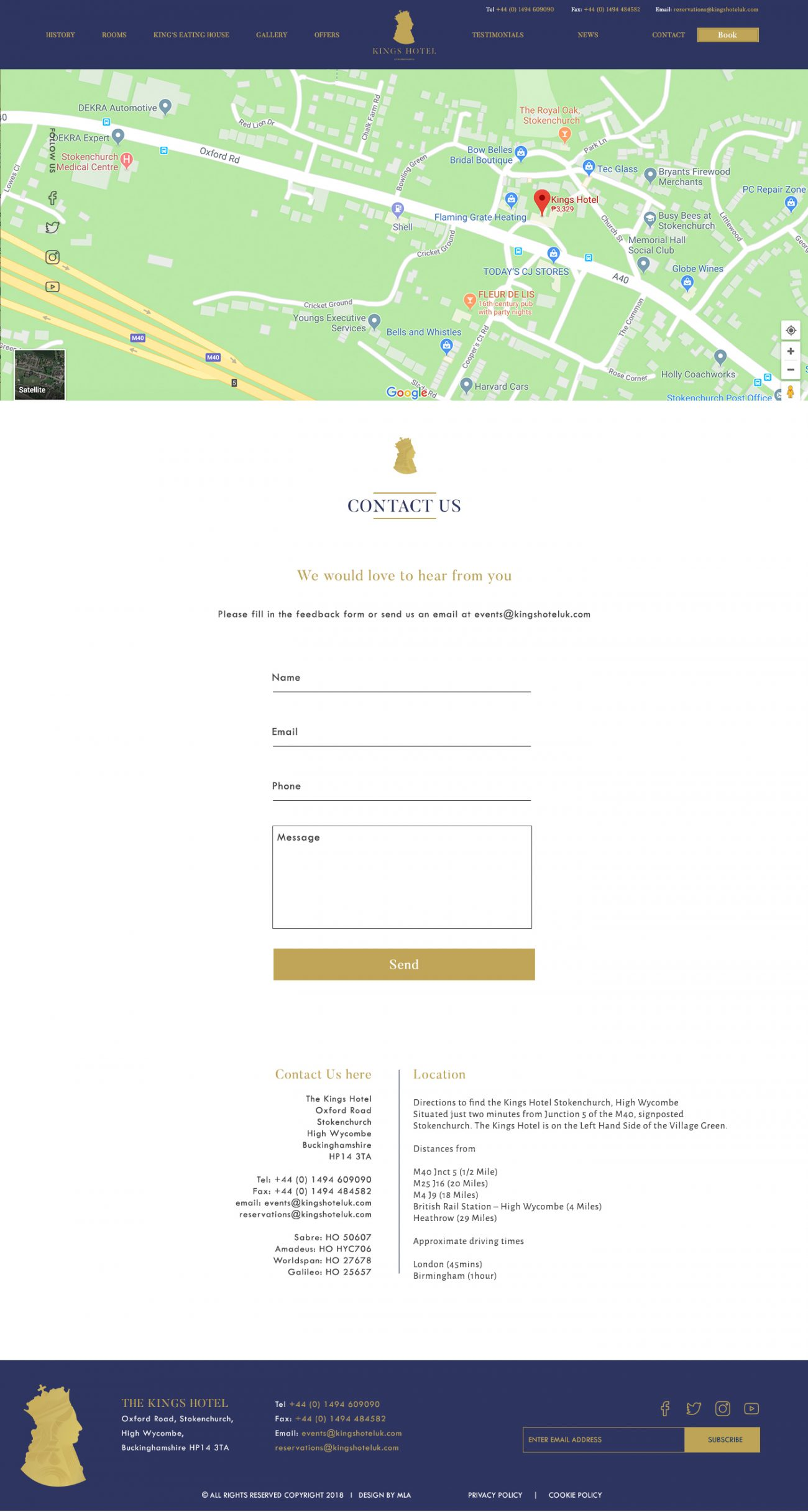 The Kings Hotel contact page - Web design London - web design agency london