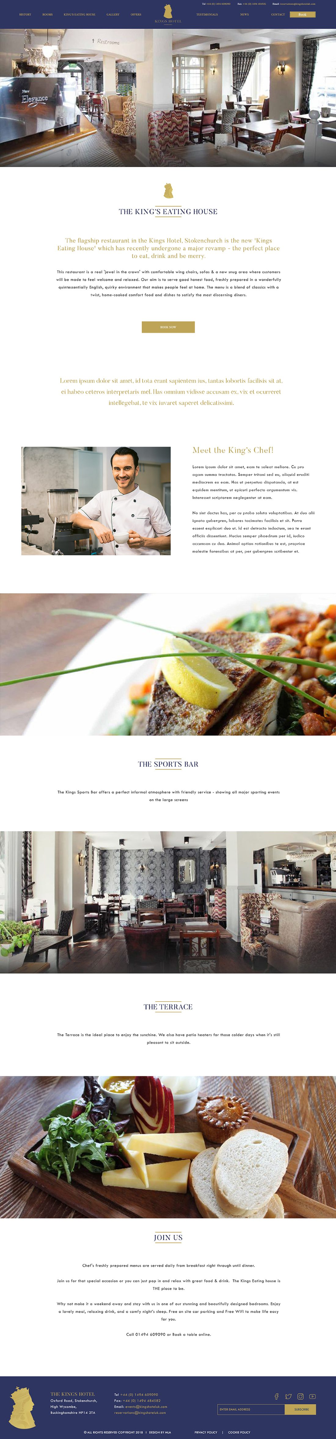 The Kings Hotel restaurant page - Web design London - web design agency london