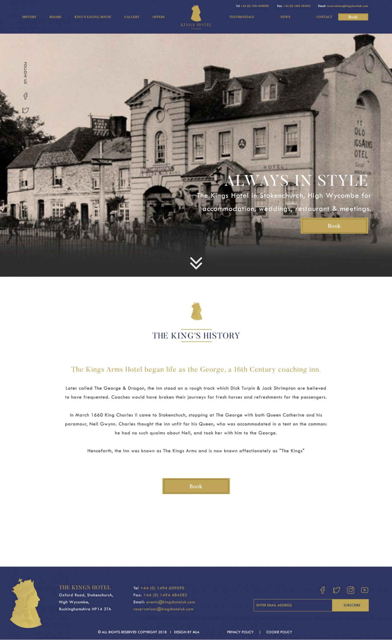 The Kings Hotel history page - Web design London- web design agency london