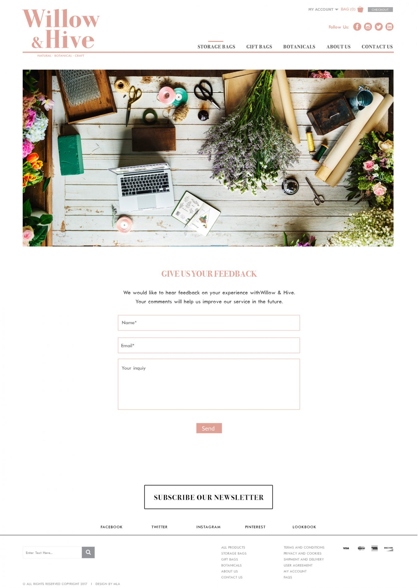 Willow&Hive contact page design - Web design London