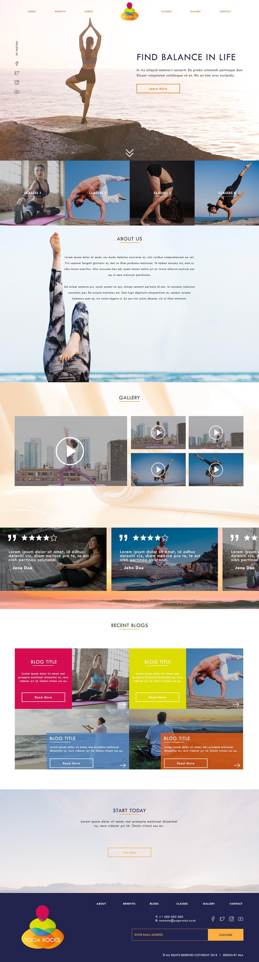 Yoga Rocks homepage website design - London Web Design - web design agency london