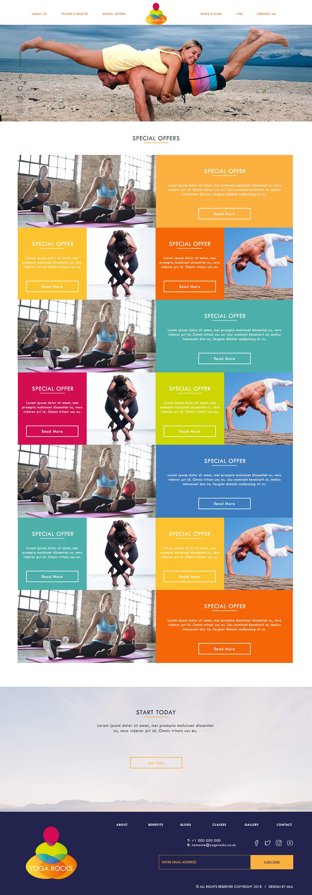 Yoga Rocks special offers page design - London Web Design - web design agency london