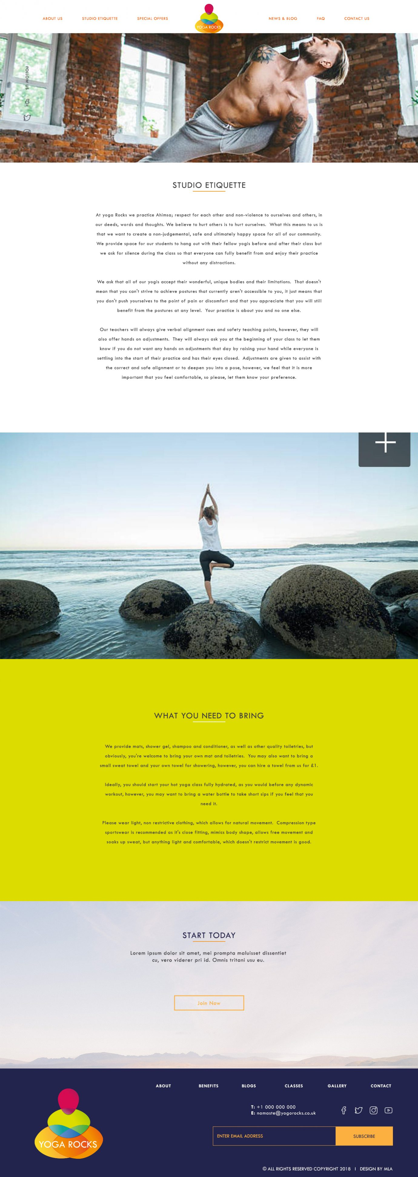Yoga Rocks studio etiquette page design - London Web Design - web design agency london
