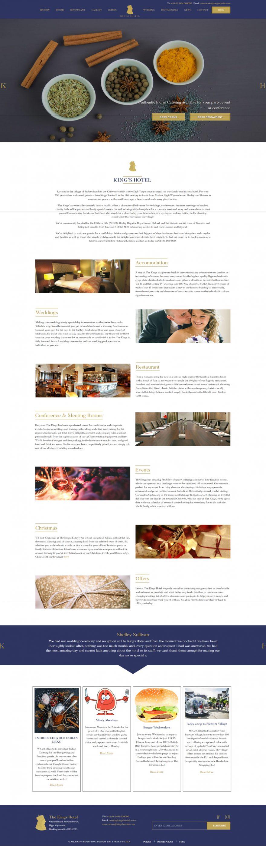 kings hotel homepage - Web design London - web design agency london