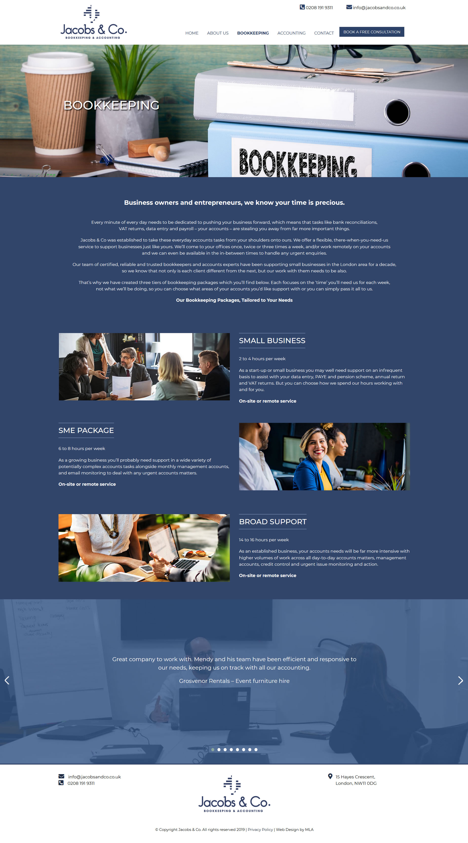 Jacobs and co website bookeeping page design - Website design London - web design agency london