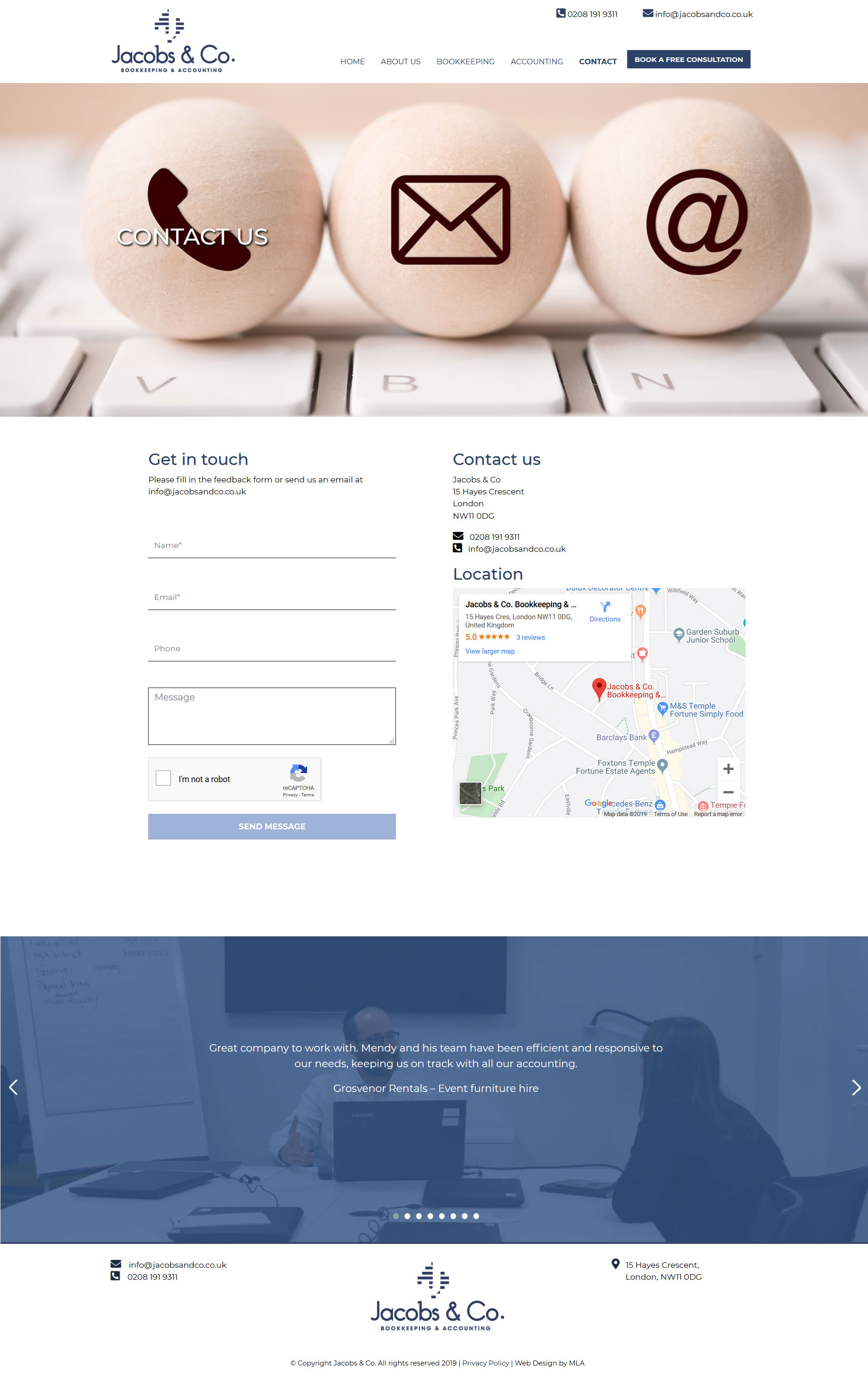Jacobs and co website contact page design - Website design London - web design agency london