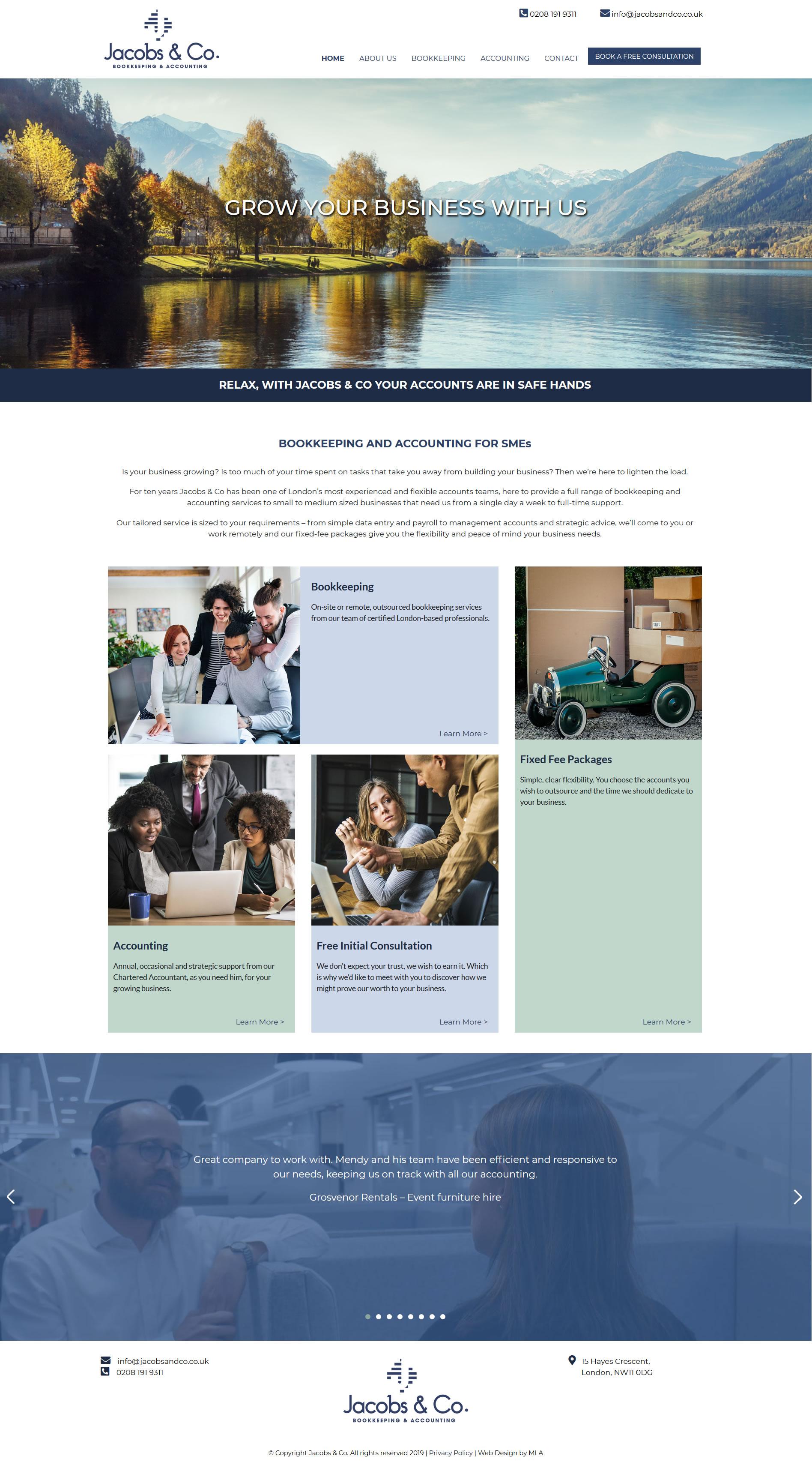 Jacobs and co website design - Website design London - web design agency london